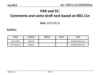 PAR and 5C: C omments and some draft text based on 802.11n
