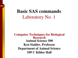 Basic SAS commands Laboratory No. 1