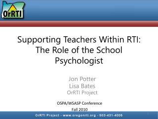 Supporting Teachers Within RTI: The Role of the School Psychologist