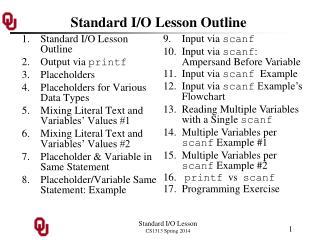 Standard I/O Lesson Outline