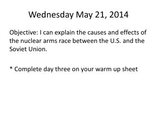Wednesday May 21, 2014