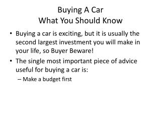 Buying A Car What You Should Know