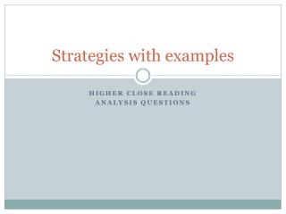 Strategies with examples