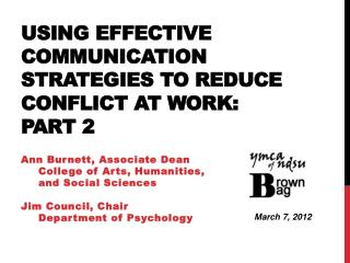 Using Effective Communication Strategies to Reduce Conflict at  Work:  Part 2