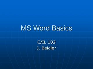 MS Word Basics