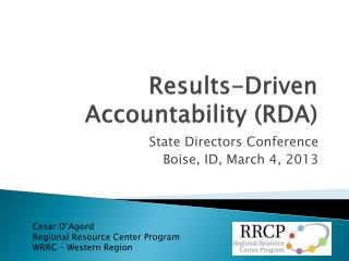 Results-Driven Accountability (RDA )