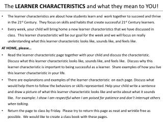 The  LEARNER CHARACTERISTICS  and what they mean to YOU!