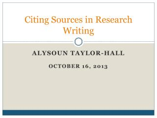 Citing Sources in Research Writing