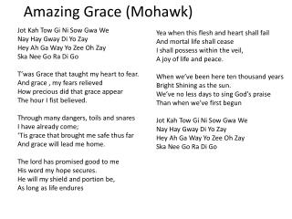 Amazing Grace (Mohawk)