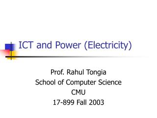 ICT and Power (Electricity)
