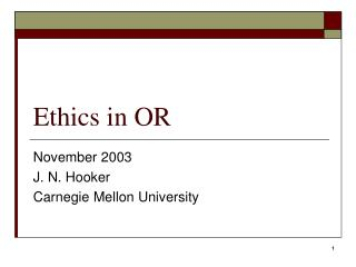 Ethics in OR