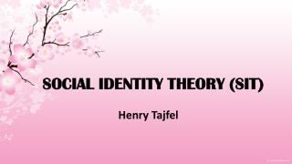 SOCIAL IDENTITY THEORY (SIT)