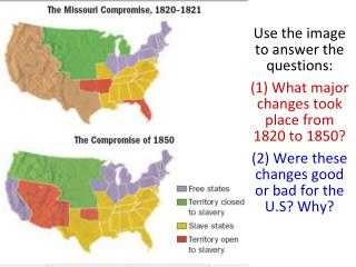 Use the image to answer the questions: (1) What major changes took place from  1820 to 1850?