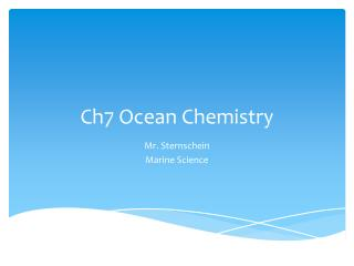 Ch7 Ocean Chemistry