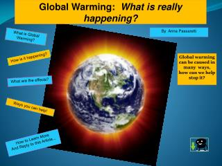 Global Warming:   What is really happening?