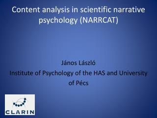 Content analysis in scientific narrative psychology  (NARRCAT)