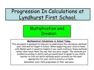 Progression In Calculations at Lyndhurst First School.