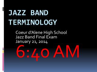 Jazz Band Terminology