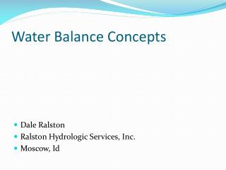 Water Balance Concepts