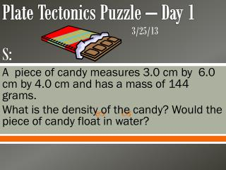 Plate Tectonics Puzzle – Day 1