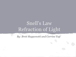 Snell's Law Refraction of Light