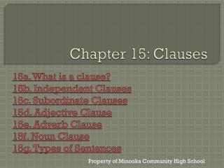 Chapter 15: Clauses