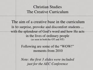 Christian Studies The Creative Curriculum
