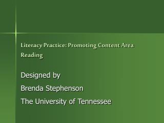 Literacy Practice: Promoting Content Area Reading