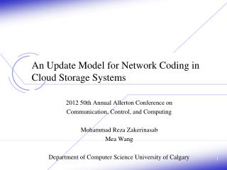 An Update Model for Network Coding in Cloud Storage Systems
