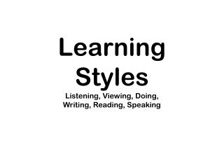Learning Styles Listening, Viewing, Doing, Writing, Reading, Speaking