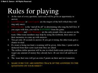Rules for playing