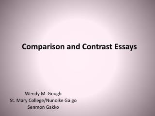 Comparison  and Contrast Essays