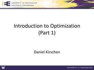 Introduction to Optimization (Part 1)