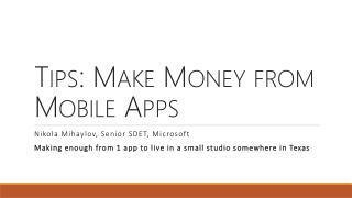 Tips: Make Money from Mobile Apps