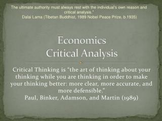 Economics Critical Analysis