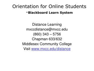 Orientation for Online Students - Blackboard Learn System
