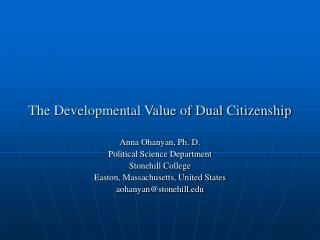 The Developmental Value of Dual Citizenship