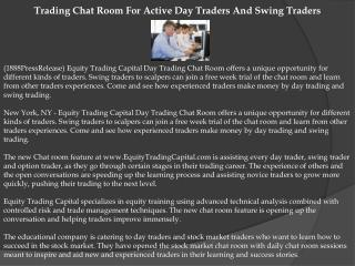 Trading Chat Room For Active Day Traders And Swing Traders