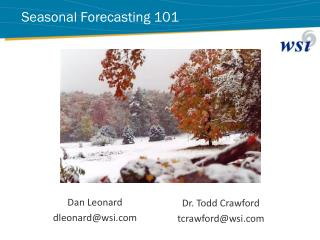 Seasonal  Forecasting 101
