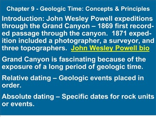 Chapter 9 - Geologic Time: Concepts  Principles
