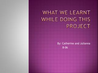 what WE LEARNT WHILE DOING THIS PROJECT