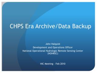 CHPS Era Archive/Data Backup