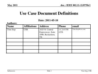 Use Case Document Definitions