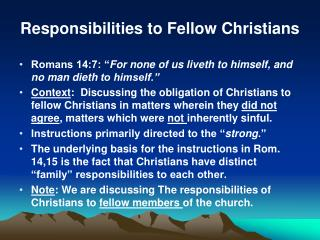 Responsibilities to Fellow Christians