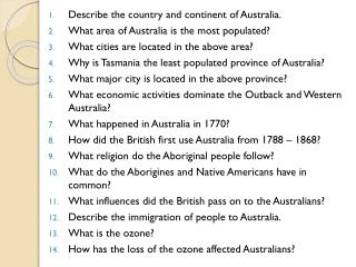 Describe  the country and continent of Australia. What  area of Australia is the most populated?