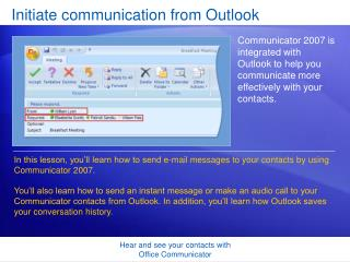 Initiate communication from Outlook