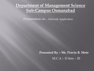 Department of Management Science Sub-Campus Osmanabad