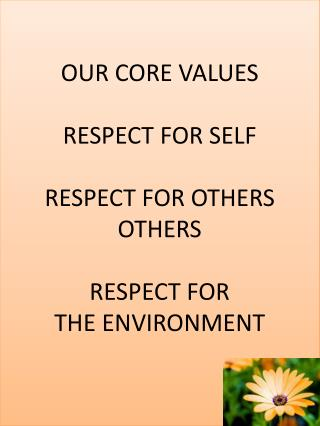 OUR  CORE VALUES RESPECT  FOR SELF  RESPECT  FOR OTHERS  OTHERS RESPECT  FOR  THE ENVIRONMENT