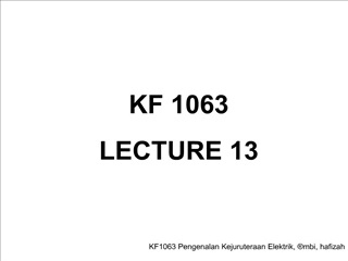 KF 1063 LECTURE 13