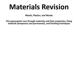 Materials Revision